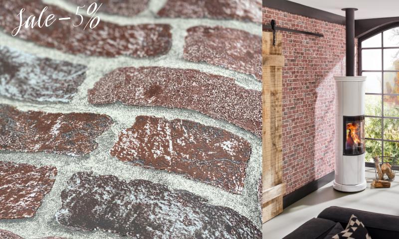 Сочетание кирпичной стены и обоев, отличная коллекция со скидкой до 5%